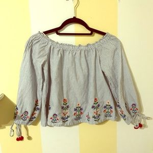 Blue long sleeve peasant blouse with embroidery
